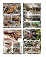 ANTS INSECTS BUGS 8 SOUVENIR SHEETS MNH UNPERFORATED