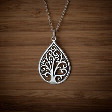 925 Sterling Silver Tree of Life Charm Pendant FREE Round Cable Link Chain