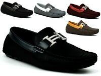 Mens New Casual slip on Smart Buckle Loafers Moccasins Driving Party Shoes Black