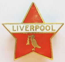 More details for liverpool - superb vintage star shaped enamel football pin badge by aew