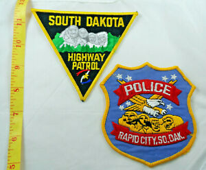 South Dakota - Rapid  City Police, SD Highway Patrol, Cloth Patch Lot of 2