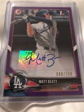 2018 Bowman Matt Beaty Auto! Purple Paper /250! Dodgers Rare RC Rookie Prospect