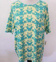 New Lularoe Irma tunic tshirt medium Disney Minnie yellow turquoise striped