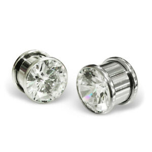 ICYROSE Stainless Steel Body Jewelry Dumbbell 1/2g Ear Plug Tunnel Crystals 2289
