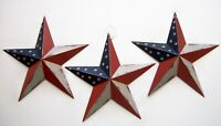 "3 pcs BARN STARS  8"" WALL DECOR PRIMITIVE COUNTRY americana red white blue"