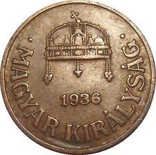 Hungary 1 Filler 1936 BP KM#505 - MAGYAR KIRÁLYSÁG (H-15)