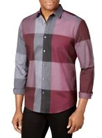 Alfani Mens Shirt Purple Size Medium M Aniston Plaid Print Button Up $55 #069