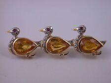 süsse Enten Nadel/ Brosche Gold 750 gelbe Saphire Juwelier Friedrich Frankfurt