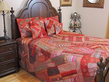Red Indian Embroidered Duvet Cover Set 7P Sari Bedding Luxury Collection ~ King