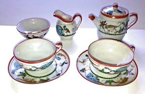 Vintage Child's Circus Tea Set Japan Teapot Sugar Creamer 2 Cups & Saucers 1890s