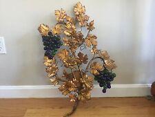 Vintage Tole Murano Czech Glass Grape Cluster Fruit Beaded Wall Sconce Italian