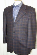 SAN REME Italy Flannel Blue Brown Plaid Wool 3-Btn Coat Jacket Blazer 50 40 40R