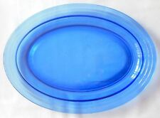 Hazel Atlas Moderntone Cobalt Blue Glass Oval Platter 11 Inches