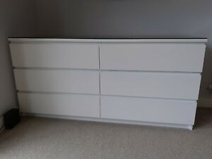 Ikea Malm Chest of 6 Drawers & Smoked Glass Top