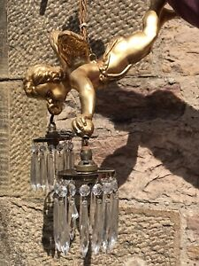 Vintage Gold Cherub Ceiling Light with 2 arm crystal pendants: fully working