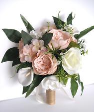 Wedding Bouquet 17 piece package Bridal set Silk Flower PEACH BLUSH Cream LILY