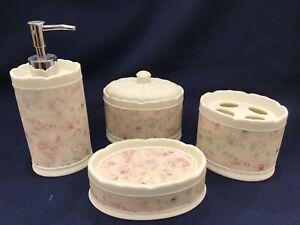 4 Croscill Cheri Blum Antique Rose Bathroom Bath Lotion Soap Toothbrush box Lid