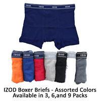 IZOD Men's 100% Cotton Tagless Knit Boxer Brief Underwear Assorted Multi Pack