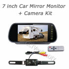 """7""""LCD Car Rearview Mirror Monitor+IR License Plates Backup Reverse Camera System"""