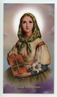ST. DYMPHNA - Laminated  Holy Cards.  QUANTITY 25 CARDS