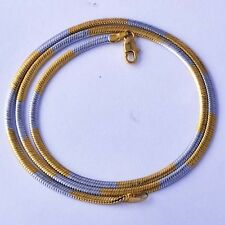 17.7' Vintage mens 9k Gold Filled Interval Silve Plated Snake Chain Necklace