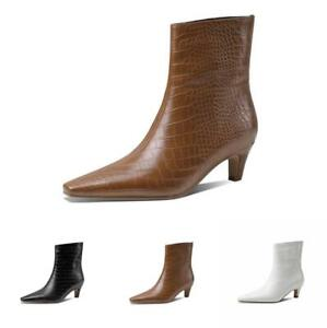 Europe Women Comfort Pull On Square Toe Kitten Heel Ankle Boots Outdoor 34-43 L