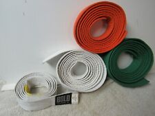(4) Martial Arts Belts, BOLD Look Brand + White, Orange & Green