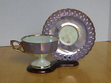 Inarco Japan Footed Cup & Saucer Reticulated  Opalescent Purple w/ Gold Leaf