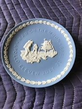 Wedgwood Commemorative Apollo 11 Blue Jasperware Man On Moon 7-20-1969 3D Plate