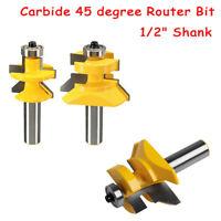 """Hartmetall Router Bit 45 ° 1/2 """"Schaft Abgestimmt Nut & Feder V-Nut Satz 2Stk."""