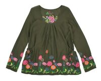 Womens Desigual Embroidery Blouse Tunic Green Cotton Floral Summer Loose Size M
