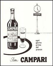PUBBLICITA' 1957 BITTER CAMPARI APERITIVO OROLOGIO BICCHIERE BOTTIGLIA VASSOIO