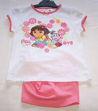 Dora The Explorer Girls White Coral Printed Pyjama Set Size 4 New