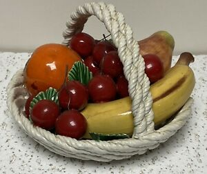 CERAMIC BASKET WITH FRUIT LANZARIN CERAMICHE Hand Made, ITALY 7x7