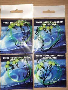 4×Twin hook enclosed swivel sea fishing rigs good for cod,bass,flatties size 2/0