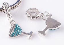2pcs sterling solid silver cup Sky Blue CZ Beads European Charm Bracelet #C825