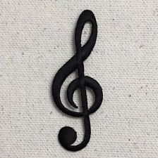 Black - Treble G Clef Note/Cleft - Musical - Iron on Applique/Embroidered Patch