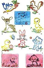 Vintage Embroidery Transfer repo 1253 Animals for Quilt table cloths scarfs bibs