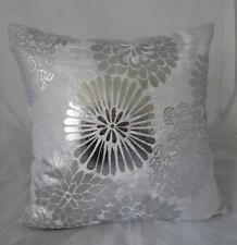Home Silver Abstract Flowers Black Velvet Cushion Cover Decor Pillow Case 45cm