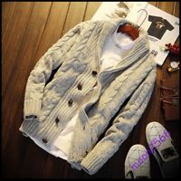 Fashion Men Sweater Shawl Thick Chunky Collar Jumper Cardigan Kniting Outcoat