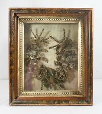 Victorian Mourning Hair Wreath in Shadow Box. Remembrance Art. Original 14 x 12