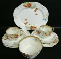 ANTIQUE  AYNSLEY 9071 HAND PAINTED POPPY PATTERN 8 PIECE TEA SET - DATED C1891