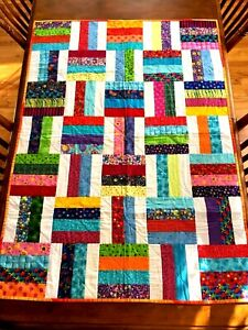 """Handmade Quilt Lap Throw Multi Color 39"""" X 54.5"""" Farmhouse Kids Twin Bed Wall"""