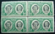 SOUTHERN RHODESIA 1947: ROYAL VISIT HALFPENNY BLOCK OF 4 MNH STAMPS