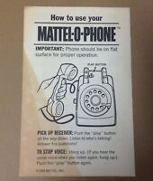 Mattel O Phone Instructions ONLY 1965 paper vintage 1960s toy play telephone USA