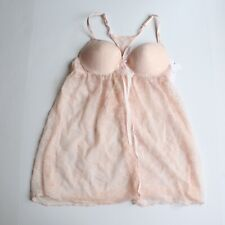 Jessica Simpson Lace Cup Babydoll Thong 2 Piece Dot Mesh Pink NEW Small S