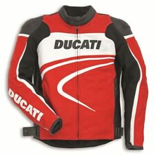 DUCATI RED MOTORBIKE  LEATHER JACKET CE APPROVED