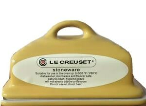 Le Creuset Stoneware Classic Butter Dish yellow with lid New