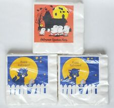 3 Vintage American Greetings Halloween Luncheon Napkins Ghosts Cat Mouse Lot