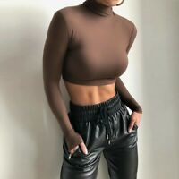 brown high neck turtle-neck long sleeve crop top winter layer top